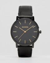 Nixon Porter Leather Watch In Black