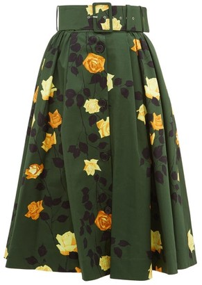 MSGM Rose-print High-rise Belted Cotton Midi Skirt - Womens - Green