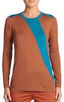 Akris Two-Tone Cashmere & Silk Knit Pullover