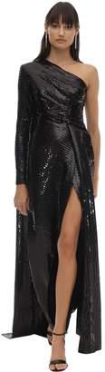 Elie Saab Long Sequined One-shoulder Dress