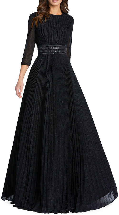Mac Duggal Sparkly Pleated A-Line Gown
