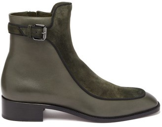 Christian Louboutin Ecritoir Suede And Leather Ankle Boots - Khaki