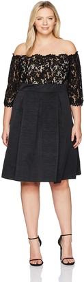 Eliza J Women's Plus Size Lace Bodice Off-The-Shoulder Dress