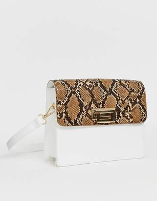 Glamorous two tone structured shoulder bag-White