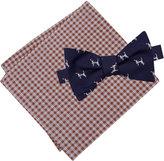 Tommy Hilfiger Men's Dog Print To-Tie Bow Tie & Gingham Pocket Square Set