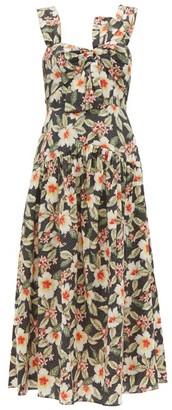 Rebecca Taylor Kamea Hibiscus-print Cotton Midi Dress - Womens - Black Multi