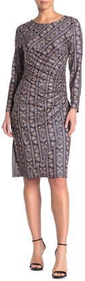 Papillon Long Sleeve Ruched Sheath Dress