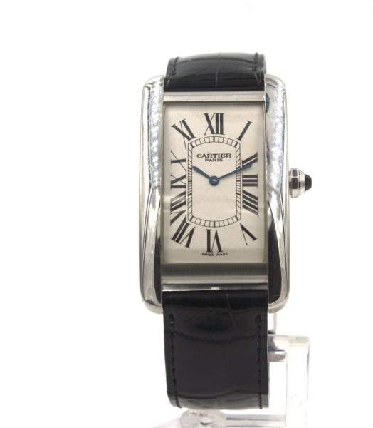 Cartier Tank American Platinum & 18K White Gold Manual Wind Leather Strap 45 x 26 mm Mens Watch