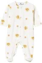 Young Versace White and Gold Printed Medusa Babygrow in Giftbox