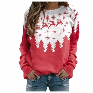 Xmiral Christmas Tops Pullover Women Xmas Printed Round Neck Sweatshirt Slim Fit Long Sleeve Shirts Tops(b-White XL)