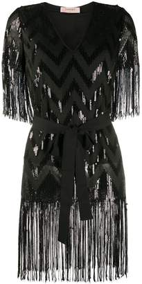 Twin-Set Twin Set sequin embellished fringed blouse