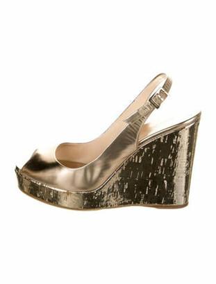 Jimmy Choo Leather Slingback Sandals Gold