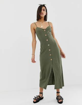 Asos Design DESIGN maxi slubby cami swing dress with faux wood buttons-Green