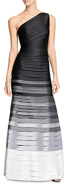 Halston Ombre Stripe One-Shoulder Gown