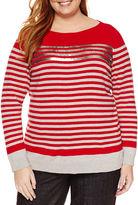 Liz Claiborne Long Sleeve Sequin Stripe Sweater - Plus