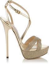 Jimmy Choo LIDDIE 145 Gold Lamé Glitter and Mirror Leather Platform Sandals