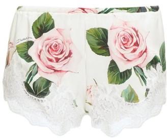Dolce & Gabbana Lace-trim Rose-print Silk-blend Shorts - White Print