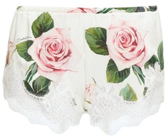 Dolce & Gabbana Lace-trim Rose-print Silk-blend Shorts - Womens - White Print