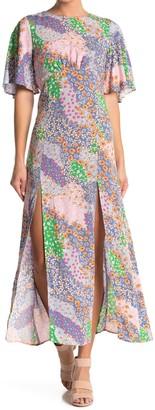 Topshop Patchwork Floral Midi Dress