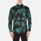 Ami Men's Flowers Printed Jersey Shirt Black/Green