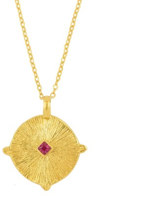 Ottoman Hands Sirius Gold Star Necklace With Pink Crystal