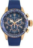 Nautica Gold Tone Stainless Steel Case and Blue Rubber Strap Men's Watch