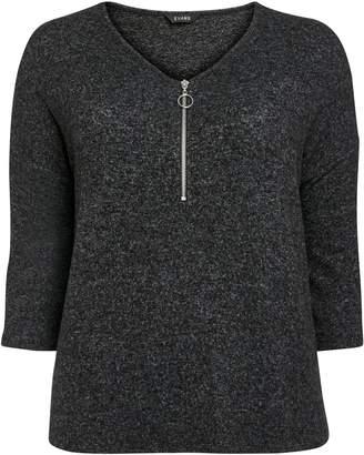 Evans Grey Zip Detail Soft Touch Top