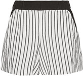 Maje Fer crepe-trimmed striped cady shorts