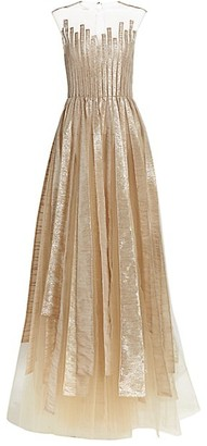 Oscar de la Renta Sleeveless Metallic Paneled Gown