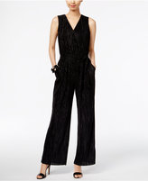 NY Collection Metallic Crinkled Jumpsuit