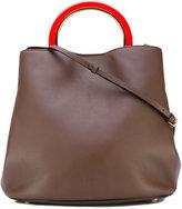 Marni contrast handle tote - women - Calf Leather/Wool/Lamb Skin/Polyamide - One Size