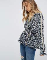 Free People Skyway Drive In V Neck Printed Blouse