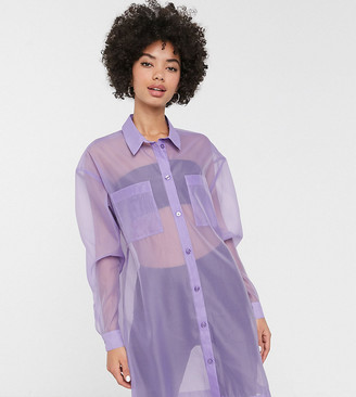 Monki organza oversized shirt in purple