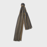 Paul Smith Men's Grey And Brown Stripe Cotton-Silk Scarf