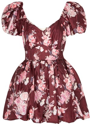 LoveShackFancy Hansel floral-print taffeta mini dress