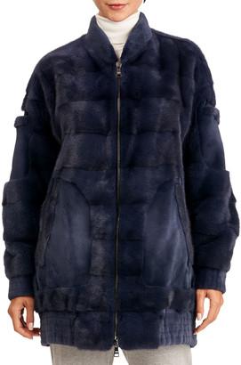 Gianfranco Ferre Long Hair & Sheared Mink Fur Bomber Jacket