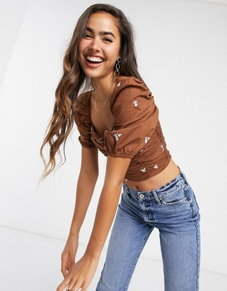 Stradivarius square neck crop top with embroidery in brown