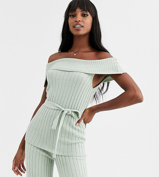 Bardot Asos Tall ASOS DESIGN Tall co-ord knitted top with belt-Green