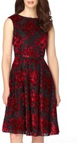 Tahari Petite Women's Burnout Velvet Fit & Flare Dress