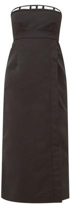 Rochas Corseted Strapless Satin Dress - Black