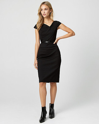 Le Château Ponte Knit Belted Sheath Dress