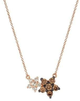 LeVian Le Vian Strawberry and Nude Chocolate Diamonds, Nude Diamonds and 14K Strawberry Gold Double Star Pendant Necklace
