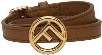Fendi Brown F is Double Wrap Bracelet