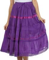 AA554M - Sakkas Solid Embroidered Gypsy / Bohemian Mid Length Cotton Skirt - /