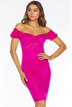 Quiz Fuchsia Lace Bardot Puff Sleeve Midi Dress