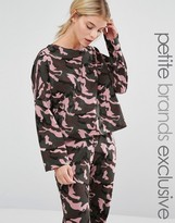 One Day Petite Oversized Sweat Top In Camo Print Co-Ord