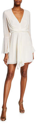 Jay Godfrey Dottie Dotted V-Neck Bell-Sleeve Drape-Front Mini Dress