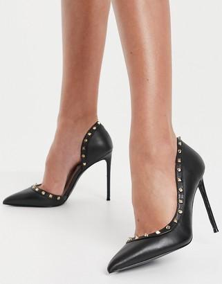 Steve Madden Viyana stiletto heel with studding in black leather