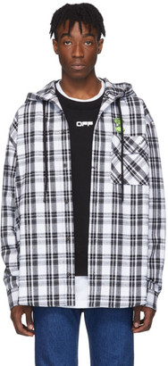 Off-White White Checked Hooded Shirt