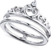 Unwritten Cubic Zirconia Split Shank Crown Ring in Sterling Silver